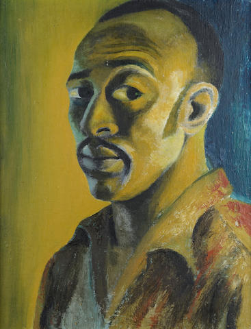 Gerard Sekoto (South African, 1913-1993) Self Portrait of the artist 45.7 x 35.6 cm. (18 x 14 in.)