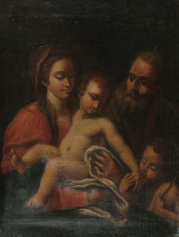 Italian School, 19th Century The Holy Family with the Infant Saint John the Baptist, 53.4 x 40.4 cm (21 x 15 7/8 in)