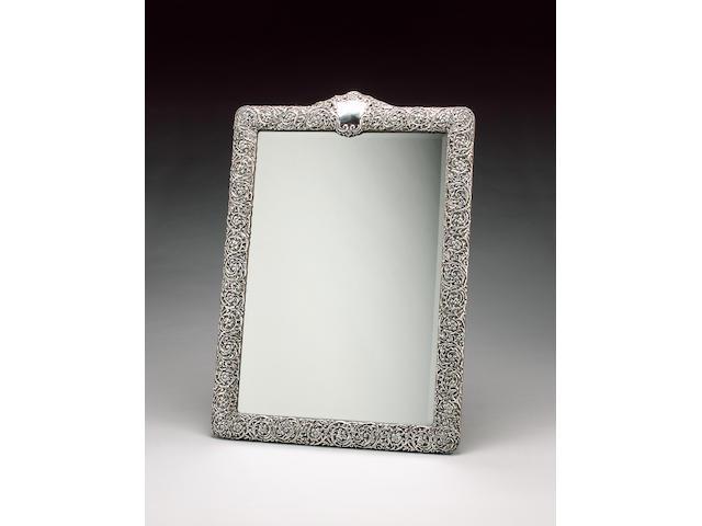 An Edwardian large silver table mirror, by H. Matthews, Birmingham 1903,