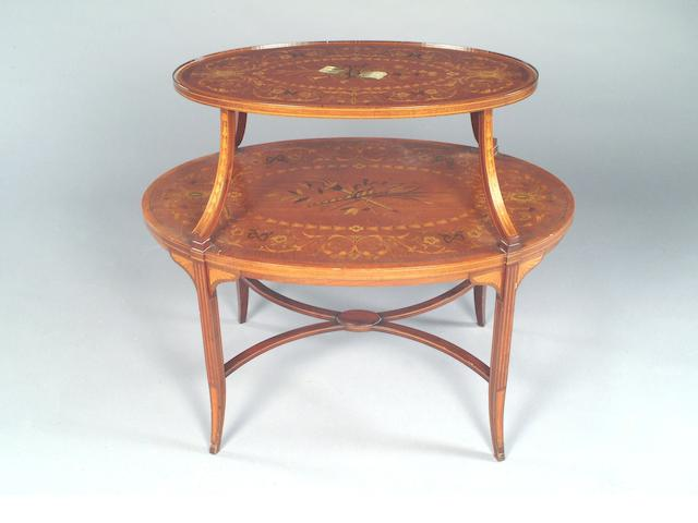 An Edwardian Sheraton Revival satinwood crossbanded inlaid mahogany Etagère,