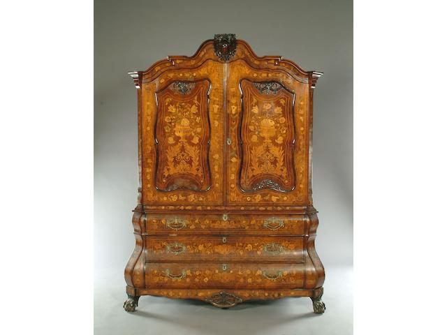 A early 19th century Dutch Marquetry walnut armoire,