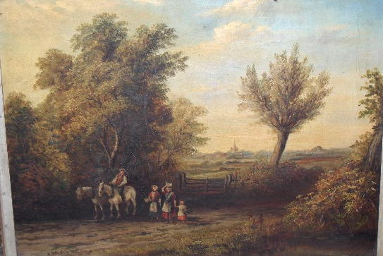 Joseph Mellor (fl.1850-1885) Cattle watering at a wooded stream; Figure group on a country lane 29 x 39cm.