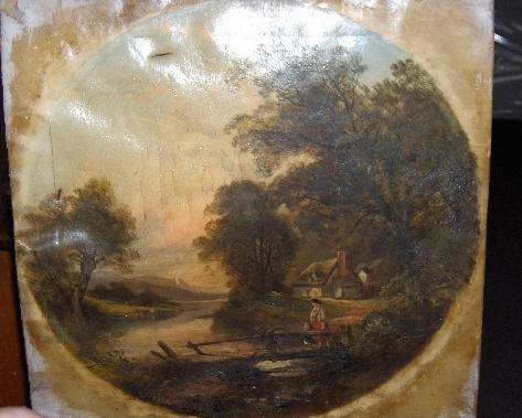 Joseph Mellor (fl.1850-1885) Figures crossing a country bridge with a cottage beyond 50cm diameter (round).