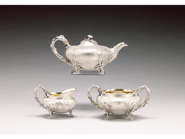 A William IV silver three piece tea service, by Benjamin Preston, London 1831,