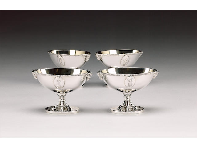 A set of four George III silver oval salts, by Henry Greenway, London 1779,