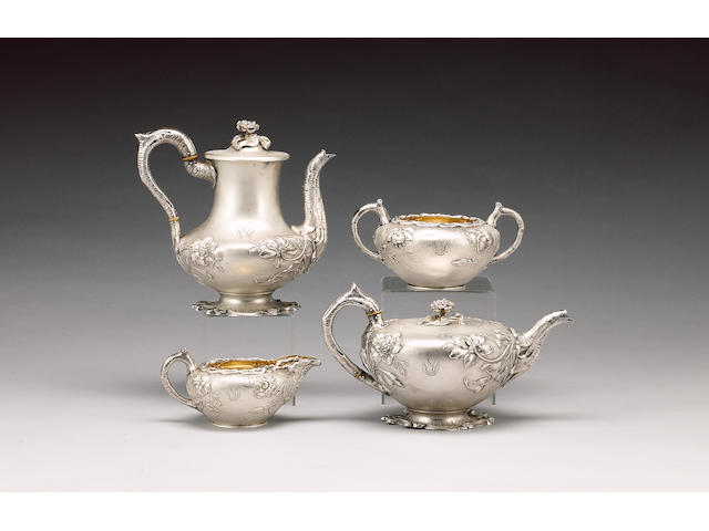A matched William IV silver four piece tea and coffee service, tea and coffee pots, by Mary & Richar