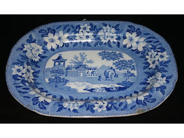 Two Rogers blue printed oval platters, circa 1830