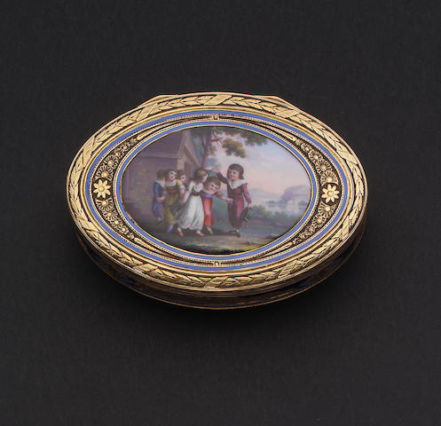 A 19th century Swiss gold and enamelled oval snuff box, maker's mark, incuse M C,