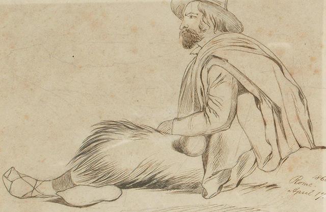 Edward Lear (British, 1812-1888) An Italian peasant, 10.5 x 16 cm. (4 1/4 x 6 1/4 in)