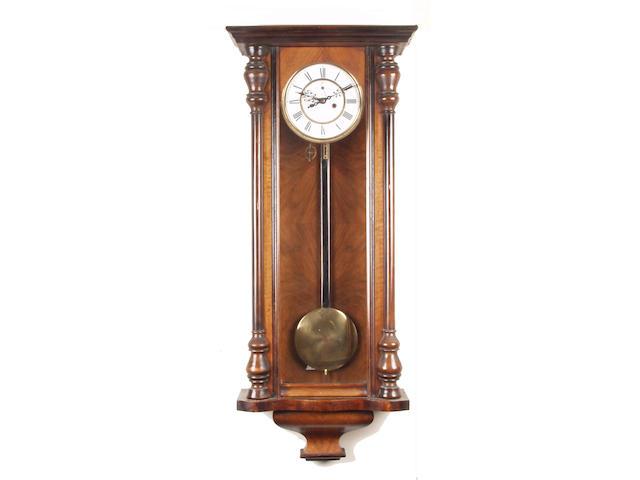 A 19th Century walnut cased regulator wall clock