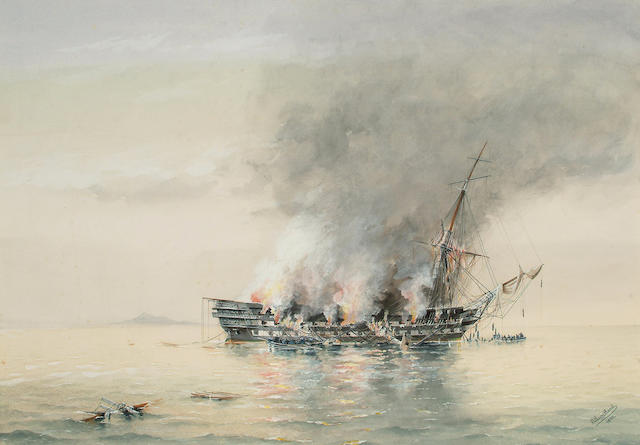 G** Lacy-Good Fire onboard a frigate, 51.1 x 71.1cm (20 1/8 x 28in)
