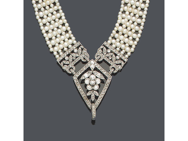 An early 20th century seed pearl and diamond necklace/bracelet and a pair of seed pearl, diamond and jade pendent earrings