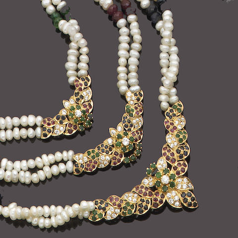 A freshwater pearl and gem-set necklace