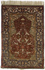 A silk and Metal thread Zareh Penyamin Kum Kapi prayer rug Istanbul, Turkey 5 ft 3 in x 3 ft 7 in (1