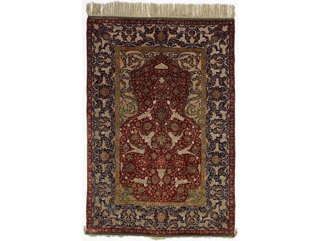 A silk and Metal thread Zareh Penyamin Kum Kapi prayer rug Istanbul, Turkey 5 ft 3 in x 3 ft 7 in (160 x 110 cm) excellent condition