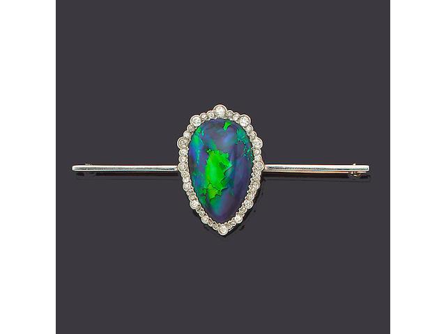 A belle époque black opal and diamond bar brooch,