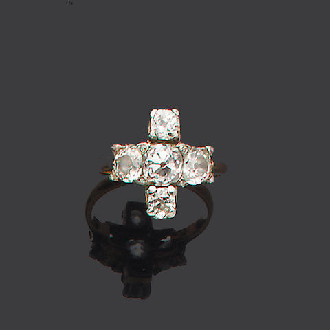 A diamond five-stone dress ring