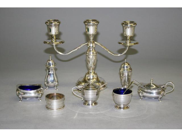 A three light candelabrum,