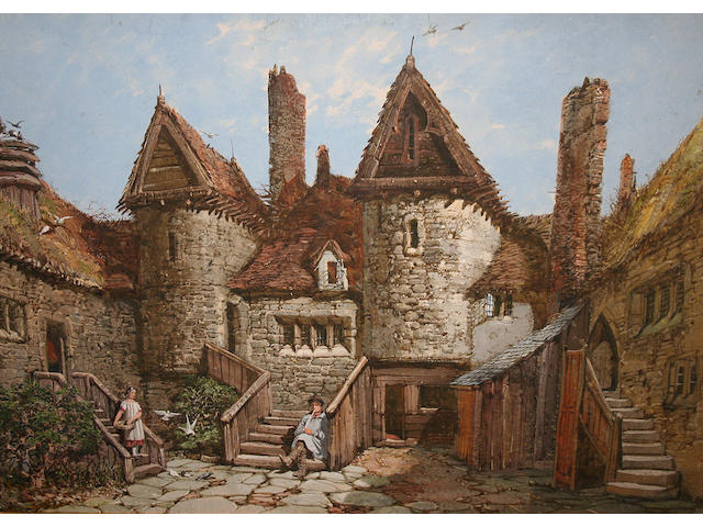 Rayner family (19th century) Girl feeding doves in a courtyard with boy on steps, 56 x 66cm.