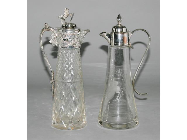 A mounted glass claret jug,