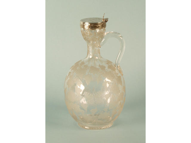 A silver and etched glass wine jug William Gough, Birmingham 1861,