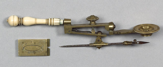 An Edmund Culpeper compass simple microscope, English, circa 1740,