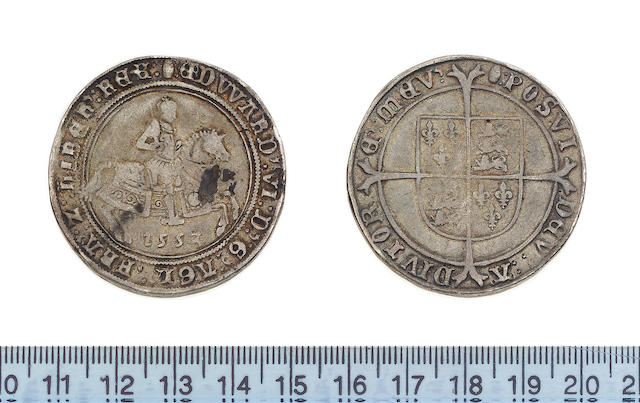 Edward VI, 1547-1553, third period (1550-53), fine silver issue (1551-53), Crown, 30.7g, king on horseback with date below horse, 1553, unaltered date and round topped 3, EDWARD VI DG AGL FRA Z hIB REX,