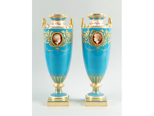 A pair of Mintons Bleu celeste ground vases circa 1900