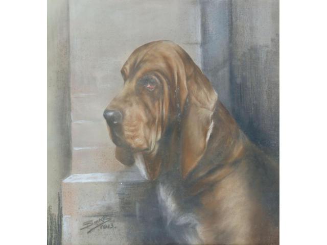 Reuben Ward Binks 'A bloodhound' 52 x 51cm.