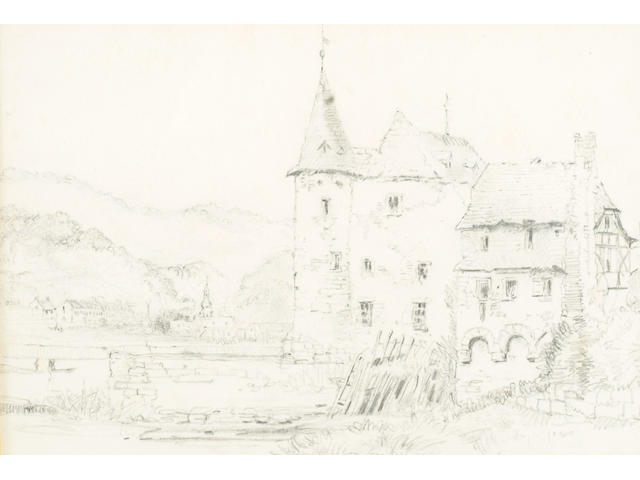 Attributed to John Ruskin (1819-1900) 'Study of a chateau' 18 x 26cm