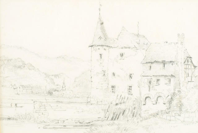 Attributed to John Ruskin 'Study of a chateau' 18 x 26cm.