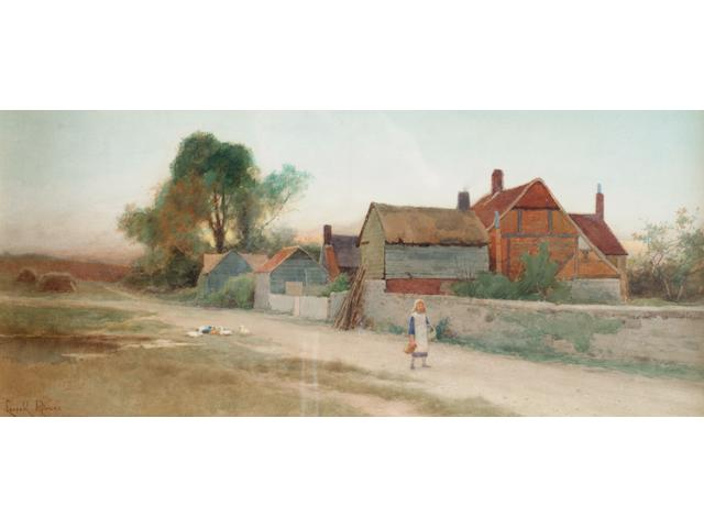 Leopold Rivers 'A young girl walking past a farm' 25 x 55cm