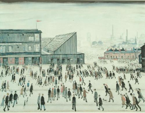 Laurence Stephen Lowry (1887-1976) 'Going to the Match' 52.5 x 67.5cm.