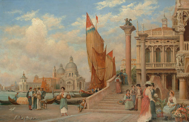 Trevor Haddon RBA (British, 1864-1941) 'Venice, corner of Ducal Palace, old library and St Maria della Salute, 51 x 76cm (20 1/8 x 29 7/8in)