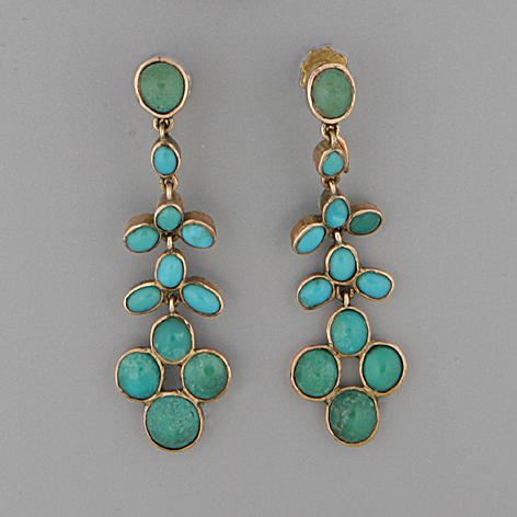 A pair of turquoise pendant earrings