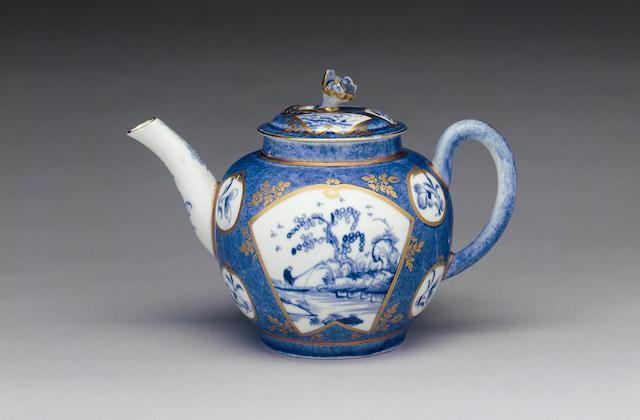 A rare Worcester teapot and cover circa 1765-68