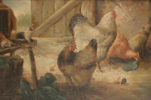 20th Century School Chickens in a barn, 11.5cm x 17cm (4 1/2 x 6 3/4in)