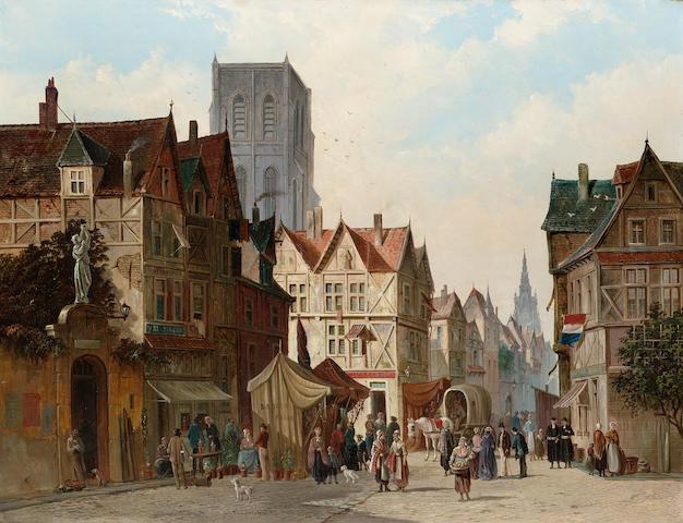 S.van der Ley (Dutch 19/20th century) A market square, Abbeville each 54.5 x 71.5 cm. (21 1/2 x 28 1/4 in.) (2)