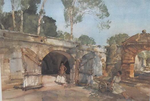 Sir William Russell Flint (1880-1969) 'Giselle and Julietta' 44 x 60.5cm.