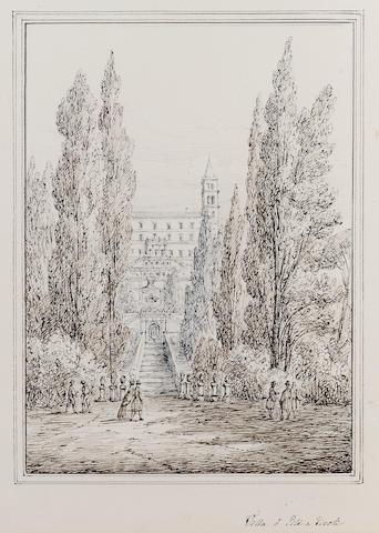 Antonio Senape (Italian, 1788-1850) Villa d'Este, Tivoli 26.5 x 20.5 cm. (10 1/2 x 8 in.)