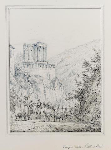 Antonio Senape (Italian, 1788-1850) Tempio della Sibilla, Tivoli 27 x 20.5 cm. (10 1/2 x 8 in.)
