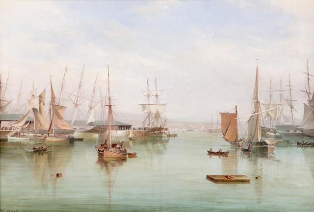 William Clark of Greenock (1803-1883) West harbour, Greenock 50.8 x 76.2cm (20 x 30ins)