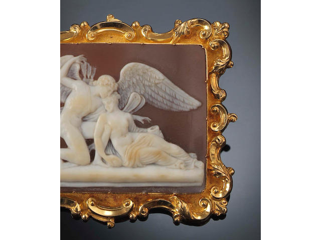 A Victorian rectangular shell cameo brooch