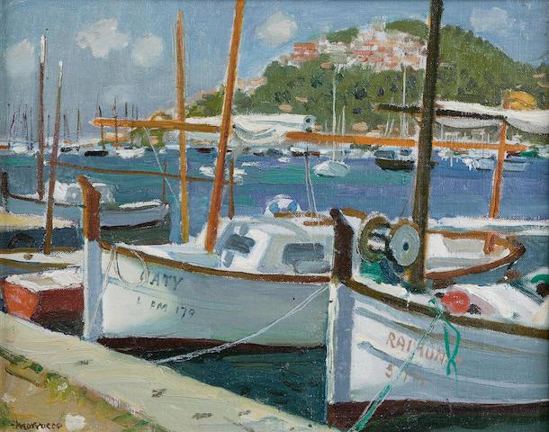 Alberto Morrocco OBE RSA RSW RP RGI LLD DUniv (1917-1998) Harbour at Port d' Andraitx 36.5 x 46cm (14 1/2 x 18ins)