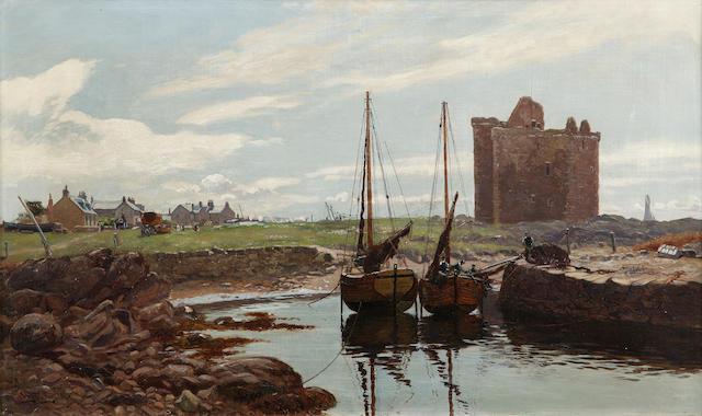 William Young RSW (1845-1916) Portencross castle, Ayrshire 45 x 75cm (18 x 30ins)