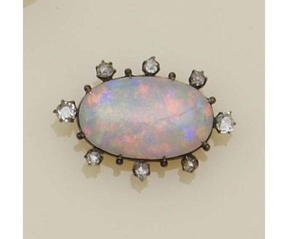 An opal and diamond brooch (4)