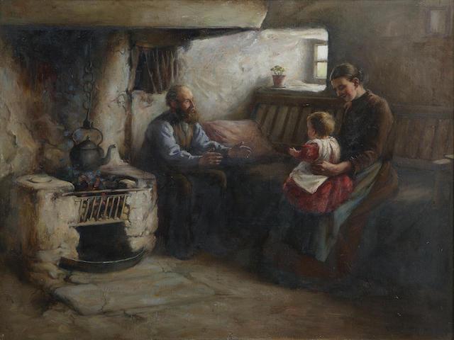 Henry John Dobson RSW (1858-1928) First steps 45 x 60cm (18 x 24ins)