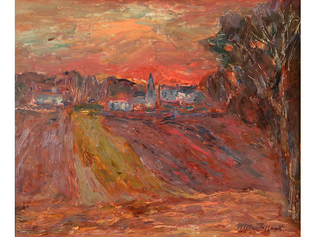 Sir William MacTaggart PRSA FRSE HonRSW LLD (1903-1981) 'Winter Sunset' 49 x 59cm (20 x 24ins)