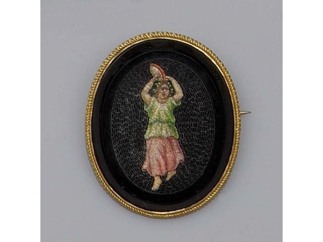 A mid-19th century oval micro-mosaic pendant/brooch (2)