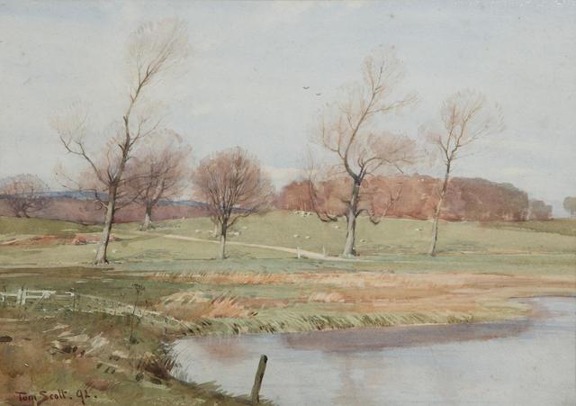 Tom Scott RSA (1854-1927) The Haining, Selkirk 24.5 x 35cm (9 1/2 x 14ins)